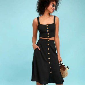 Lulu's Two Piece Black Crop Top Midi Skirt Medium
